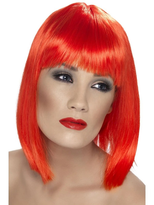 "26"" Neon Red Glam Short Blunt Fringe Women Adult Halloween Wig Costume Accessory - One Size - IMAGE 1"