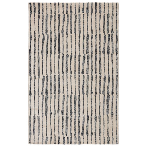8' x 10' Gray and Cream White Traditional Hand Tufted Rectangular Area Throw Rug - IMAGE 1