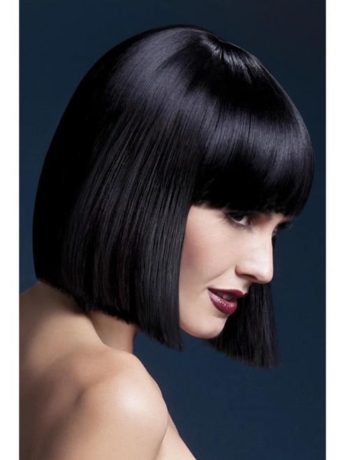 "26"" Black Fever Lola Blunt Cut Bob Women Adult Halloween Wig Costume Accessory - One Size - IMAGE 1"