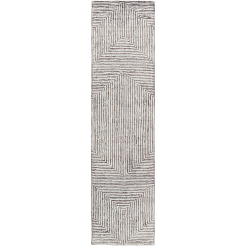 3' x 12' Geometric Patterned Gray and Charcoal Brown Rectangular Area Throw Rug Runner - IMAGE 1