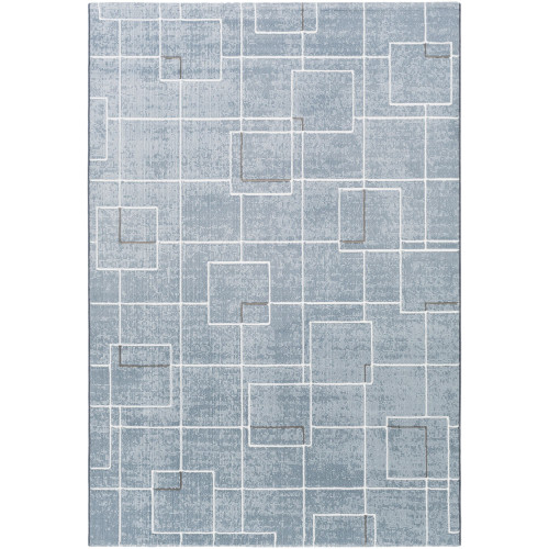 5.7' x 7.6' Geometric Blue and Gray Rectangular Area Throw Rug - IMAGE 1