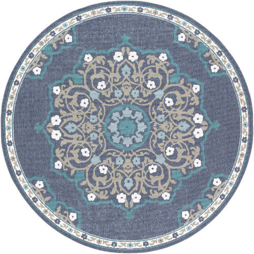 """5'3"""" Alfresco Gray and Brown Mandala Patterned Round Synthetic Area Throw Rug - IMAGE 1"""