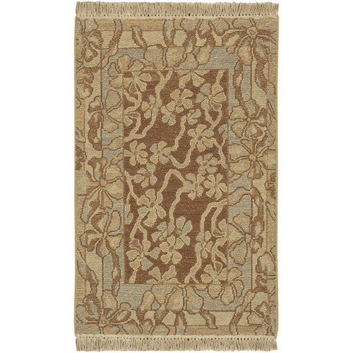 2' x 3' Floral Brown and Gray Hand knotted New Zealand Wool Area Throw Rug - IMAGE 1