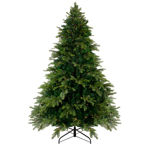 7.5' Pre-Lit Full Woodcrest Pine Artificial Christmas Tree - Warm White LED Lights - IMAGE 1