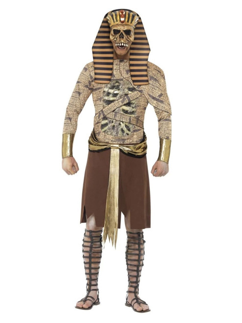 "41"" Gold and Brown Zombie Pharaoh Men Adult Halloween Costume - Medium - IMAGE 1"