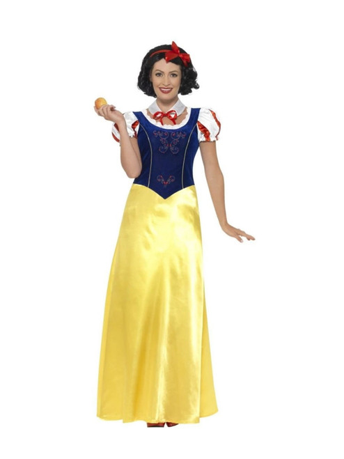 "42"" Navy Blue and Yellow Princess Snow Women Adult Halloween Costume - Large - IMAGE 1"