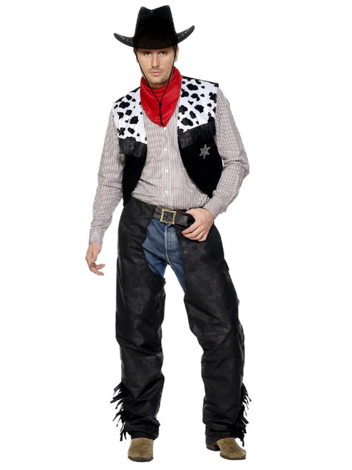 """49"""" Black and Gray Cowboy Men Adult Halloween Costume - Large - IMAGE 1"""