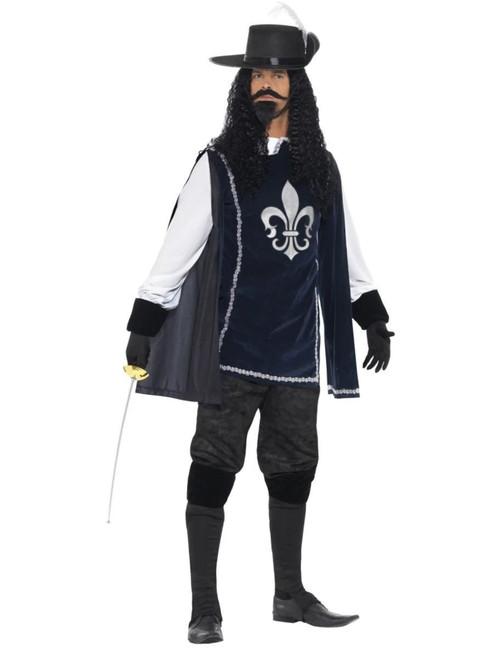 "49"" Navy Blue and White Musketeer Men Adult Halloween Costume - Medium - IMAGE 1"