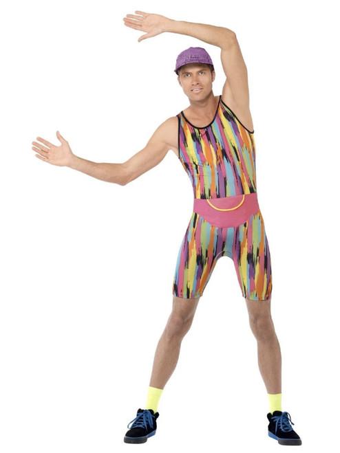 "39.5"" Vibrantly Colored 1990's Style Aerobics Instructor Men Adult Halloween Costume - Medium - IMAGE 1"