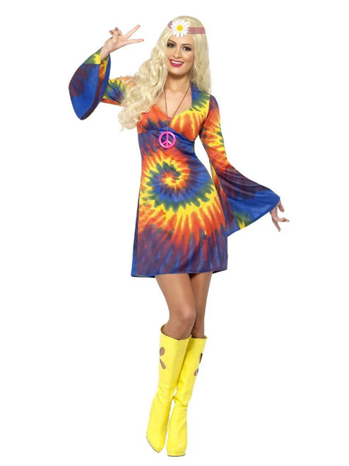 "49"" Vibrantly Colored 1960's Style Tie Dye Women Adult Halloween Costume - Medium - IMAGE 1"