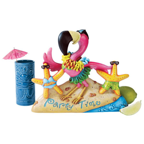 """12"""" Party On The Beach Flamingo Outdoor Backyard Statue - IMAGE 1"""