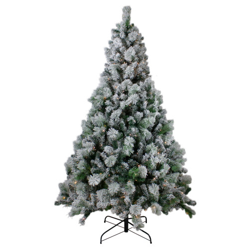 7.5' Pre-Lit Flocked Somerset Spruce Artificial Christmas Tree - Clear Lights - IMAGE 1