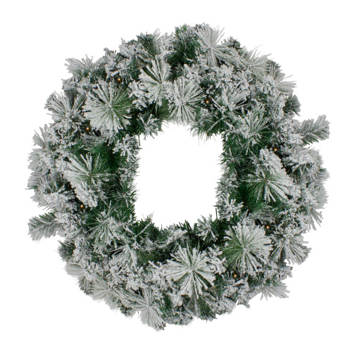 Pre-Lit Flocked Somerset Spruce Artificial Christmas Wreath - 36-Inch, Clear Lights - IMAGE 1