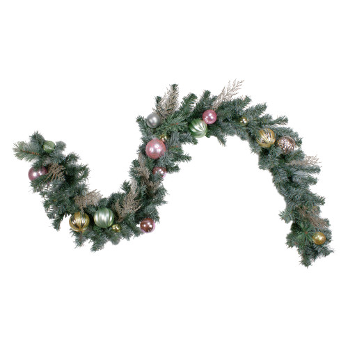 6' Pink and Gold Ornaments Frosted Artificial Christmas Garland- Unlit - IMAGE 1