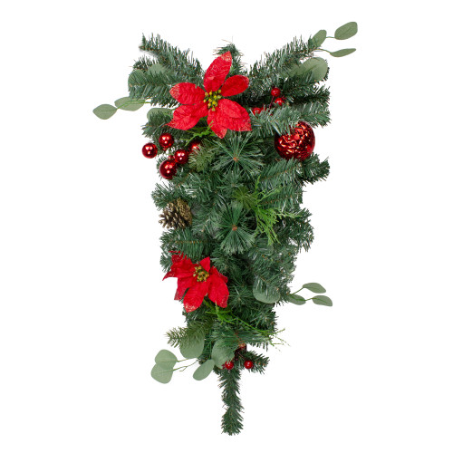"""30"""" Red Poinsettia and Pinecone Artificial Christmas Teardrop Swag - Unlit - IMAGE 1"""