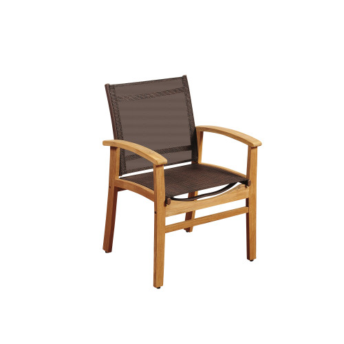 """36"""" Brown Fortuna Teak Patio Armchair with Sling - IMAGE 1"""