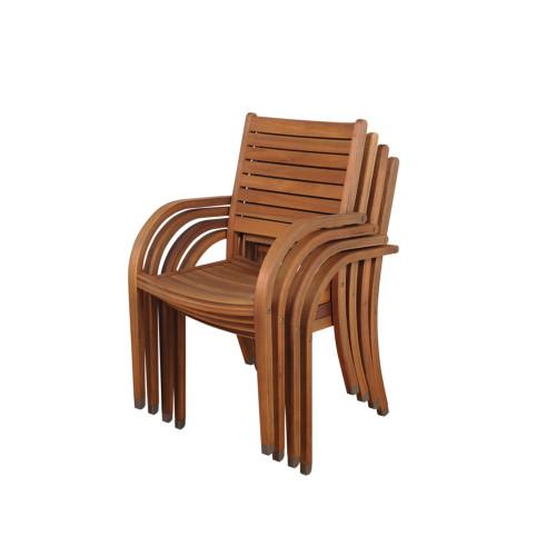 """4-Piece Brown Arizona Eucalyptus Patio Armchair Set 36"""" - IMAGE 1"""
