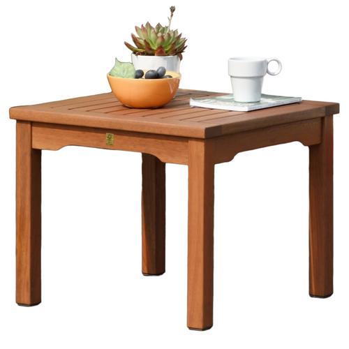 "19"" Brown Kingsbury Eucalyptus Patio Side Table - IMAGE 1"