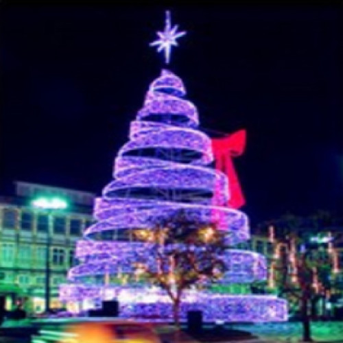 13ft Pre-Lit Commercial Grade LED Spiral Christmas Tree with Bow - IMAGE 1
