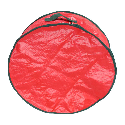 """24"""" Red and Green Christmas Wreath Round Storage Bag - IMAGE 1"""
