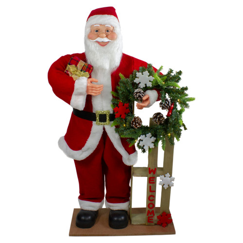 """3' Santa Claus Holding a Wooden Sleigh """"Welcome"""" Christmas Sign - IMAGE 1"""