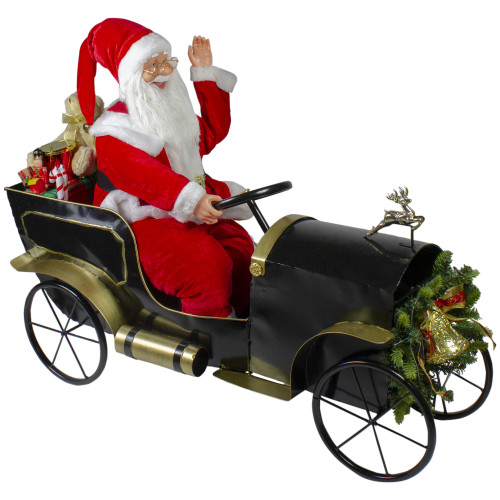 "33"" Santa Delivering Presents in a Black and Gold Vintage Car Christmas Decoration - IMAGE 1"