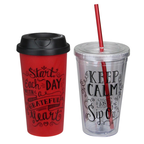 """6.75"""" Inspirational Red With Black Accents Tumbler and Travel Mug Set - IMAGE 1"""