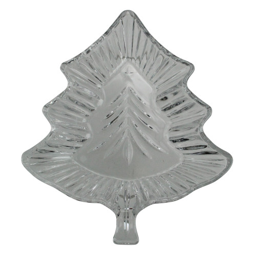 "7"" Clear Contemporary Christmas Tree Shaped Glass Candy Dish - IMAGE 1"