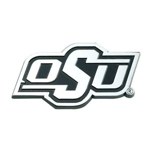 """3"""" Stainless Steel and Black NCAA Oklahoma Cowboys 3D Emblem - IMAGE 1"""
