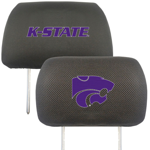 """13"""" Black and Purple NCAA Kansas State Wildcats Headrest Cover - IMAGE 1"""
