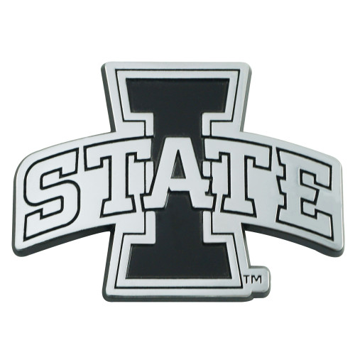 """3"""" Stainless Steel and Black NCAA Iowa State Cyclones 3D Emblem - IMAGE 1"""