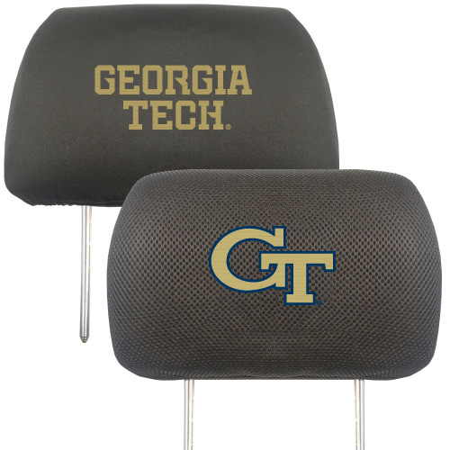 """Set of 2 Black and Gold NCAA Georgia Tech Yellow Jackets Headrest Cover 13"""" - IMAGE 1"""
