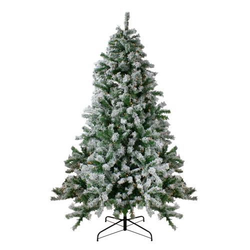 6.5' Pre-Lit Flocked Winter Park Fir Artificial Christmas Tree - Clear Lights - IMAGE 1