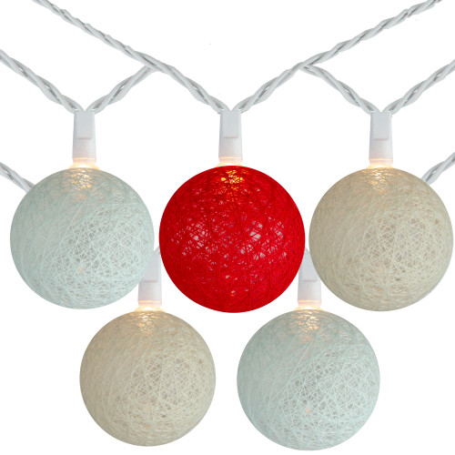 10 Red, Green and Cream Yarn Ball Patio Globe Lights - 8.6 ft White Wire - IMAGE 1