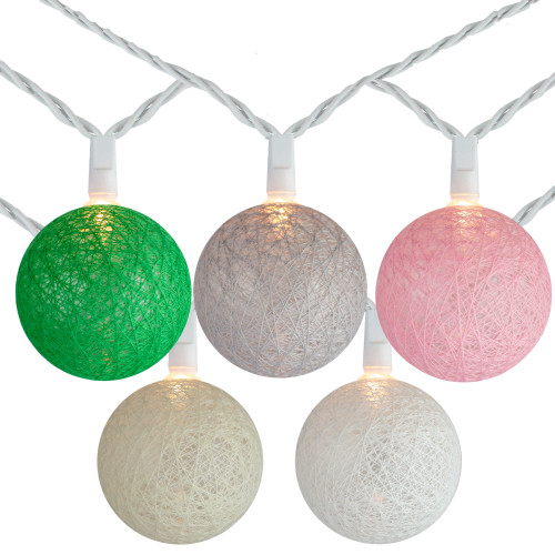 10 Multi-Color Yarn Ball Patio Globe Lights - 8.6 ft White Wire - IMAGE 1