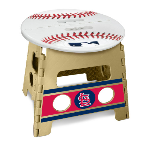 """14"""" Tortilla Brown and White MLB St. Louis Cardinals Folding Step Stool - IMAGE 1"""