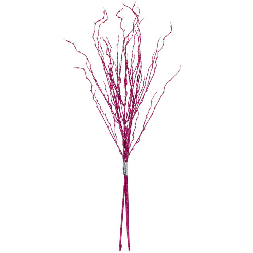 """36"""" Pink Glittered Twig Branch Christmas Spray Stake - Pink LED Lights - IMAGE 1"""