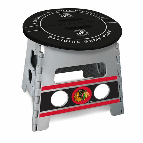 """14"""" Gray and Black NHL Chicago Blackhawks Folding Step Stool - IMAGE 1"""