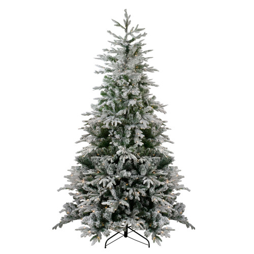 7.5' Pre-Lit Medium Flocked Winfield Fir Artificial Christmas Tree - Warm White LED Lights - IMAGE 1