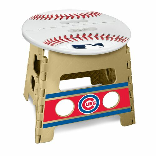 """14"""" Tortilla Brown and White MLB Chicago Cubs Folding Step Stool - IMAGE 1"""