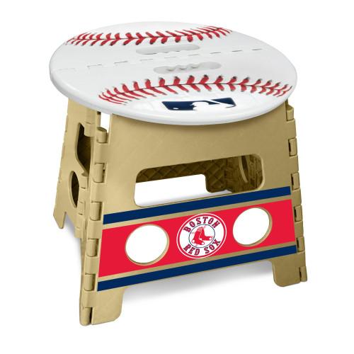 "14"" Tortilla Brown and White MLB Boston Red Sox Folding Step Stool - IMAGE 1"