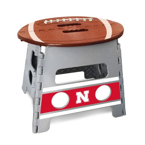 "14"" Gray and Brown NCAA Nebraska Cornhuskers Folding Step Stool - IMAGE 1"