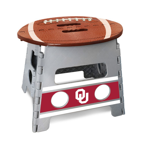 "14"" Gray and Brown NCAA Oklahoma Sooners Folding Step Stool - IMAGE 1"