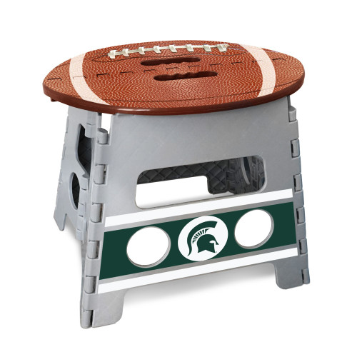 """14"""" Gray and Brown NCAA Michigan State Spartans Folding Step Stool - IMAGE 1"""