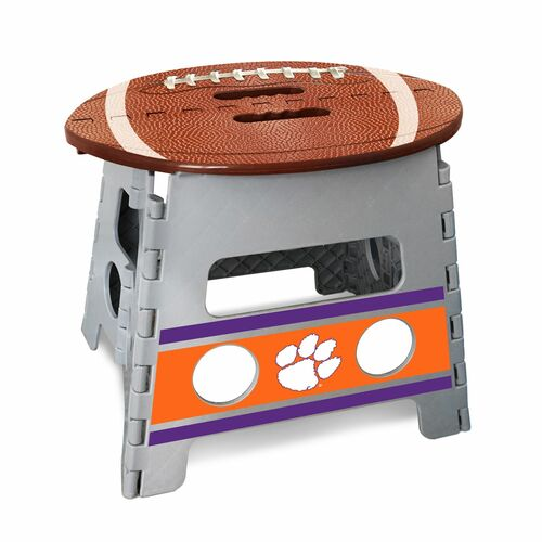"""14"""" Gray and Brown NCAA Clemson Tigers Folding Step Stool - IMAGE 1"""