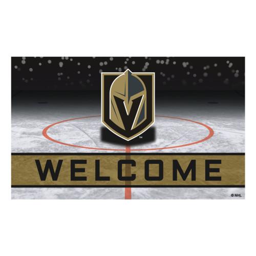 "Gray and Black NHL Vegas Golden Knights Crumb Welcome Door Mat 30"" x 18"" - IMAGE 1"