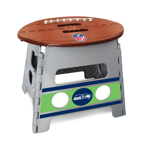 """14"""" Gray and Brown NFL Seattle Seahawks Folding Step Stool - IMAGE 1"""