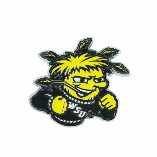 "3"" Yellow and Black NCAA Wichita State Shockers 3D Emblem - IMAGE 1"