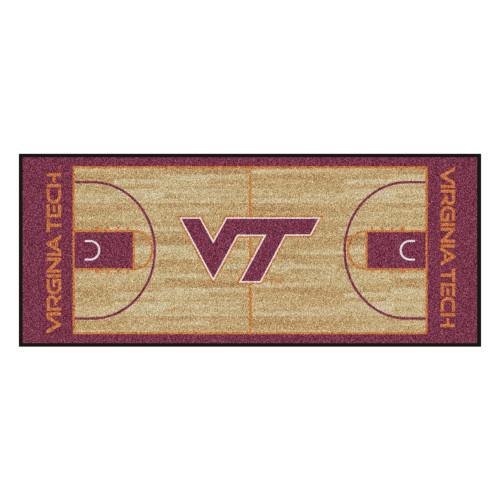 "30"" x 72"" Brown and Red NCAA Virginia Tech Hokies Rectangular Area Throw Rug Runner - IMAGE 1"