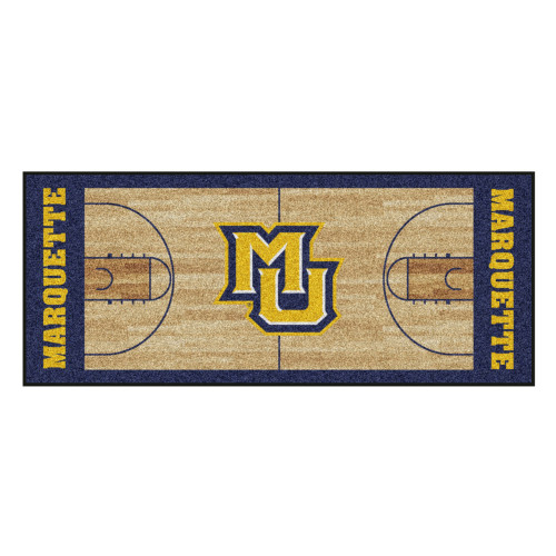 """30"""" x 72"""" Brown and Blue NCAA Marquette Golden Eagles Rectangular Area Throw Rug Runner - IMAGE 1"""
